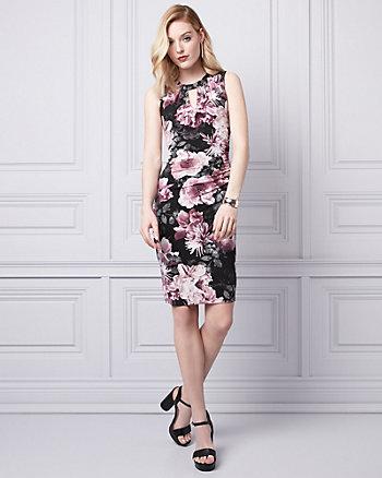 Floral Print Knit V-Neck Ruched Dress