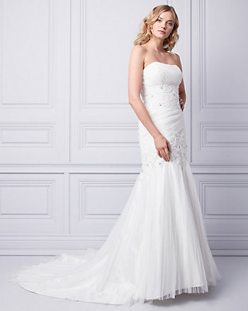 Embroidered Organza Strapless Gown