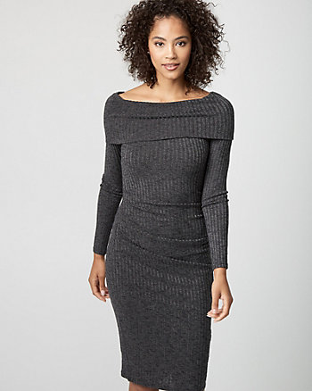 Rib Knit Off-the-Shoulder Dress