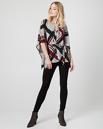 Check Print Knit Poncho Top
