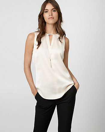 Crêpe de Chine Split Neck Blouse