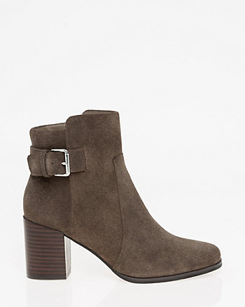 Suede Square Toe Ankle Boot