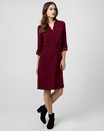 Crêpe de Chine Belted Shirtdress
