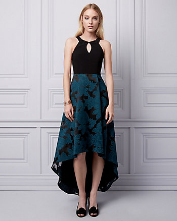 Jacquard High-Low Halter Gown