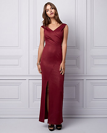 Foiled Knit Crêpe Off-the-Shoulder Gown