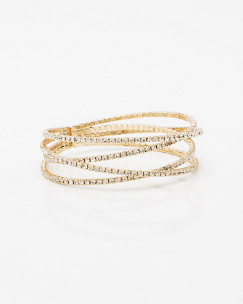 Gem Criss-Cross Cuff Bracelet
