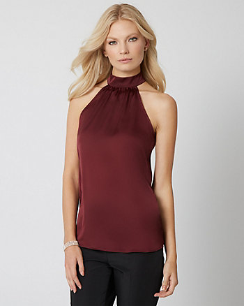 Satin Mock Neck Blouse