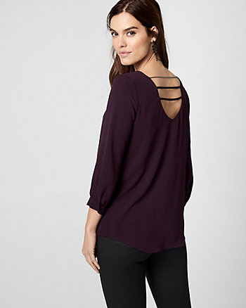 Crêpe de Chine Open Back Blouse