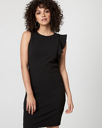 Knit Crêpe Ruffle Dress