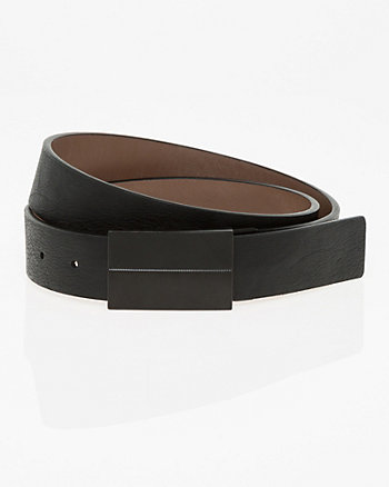 Reversible Leather-Like Plaque Belt