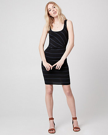 Stripe Jersey Scoop Neck Tunic Dress