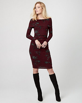 Floral Print Rib Knit Sweater Dress