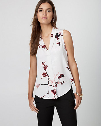 Floral Print Built-Up Neck Blouse