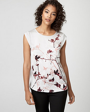 Leaf Print Satin Crew Neck Top