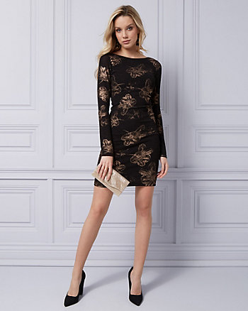 Foil Knit V-Back Cocktail Dress