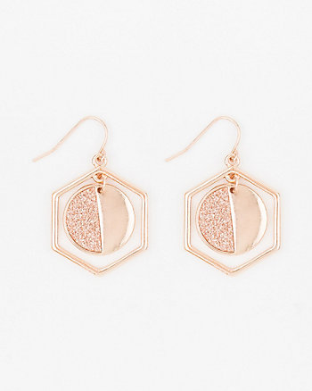 Glitter & Solid Hexagon Earrings