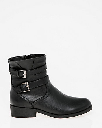 Buckle Round Toe Ankle Boot