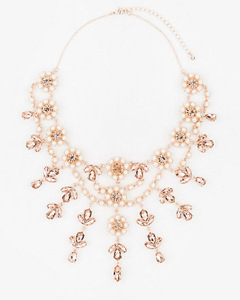 Gem & Pearl-Like Floral Necklace