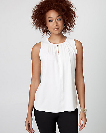 Viscose Blend Split Neck Top