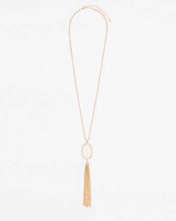 Cabochon Gem & Tassel Necklace
