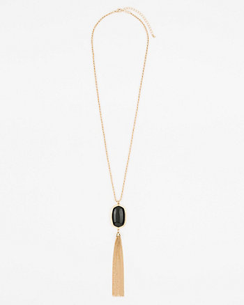 Cabochon Gem & Tassel Necklace