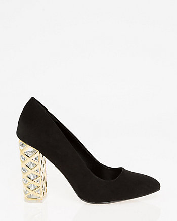 Metal Trim Block Heel Pump