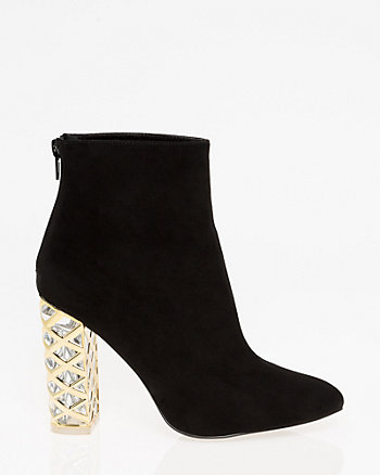 Metal Trim Block Heel Ankle Boot