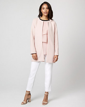 Rib Knit Open-Front Coat