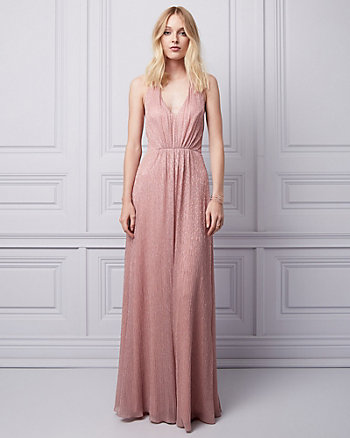 Metallic Knit Halter Gown