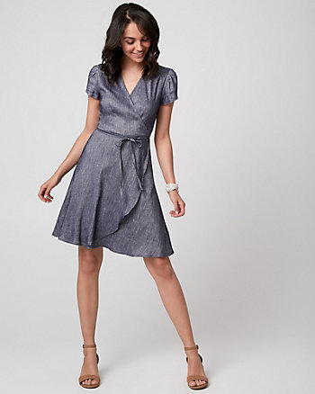 Chambray Wrap-Like Dress