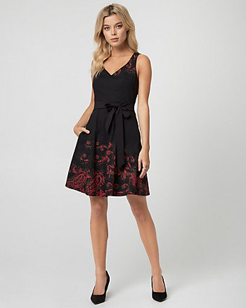 Abstract Print Cotton Sateen V-Neck Dress