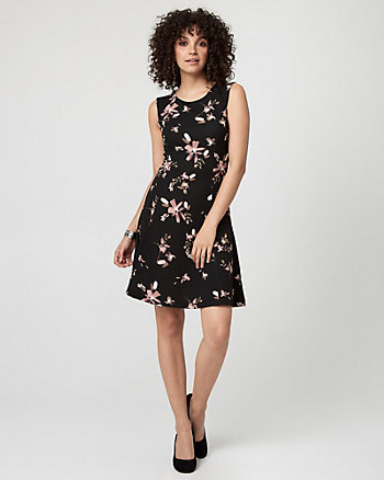 Floral Print Textured Knit Fit & Flare Dress
