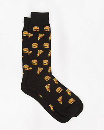 Pizza & Hamburger Print Cotton Blend Socks