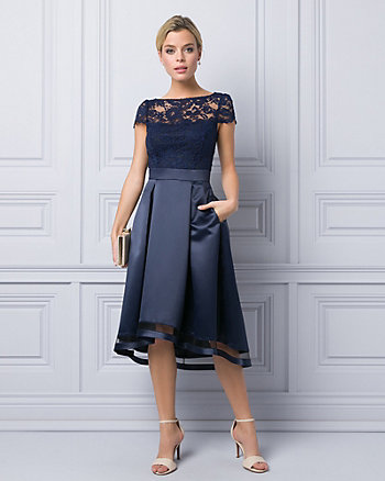 Satin & Lace Illusion Cocktail Dress