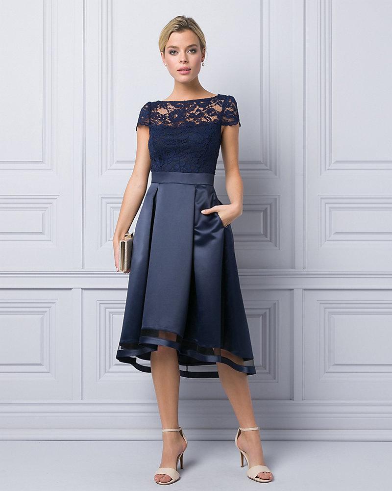20bcc6377be Satin   Lace Illusion Cocktail Dress