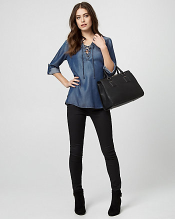 Lyocell Lace-Up Neck Blouse