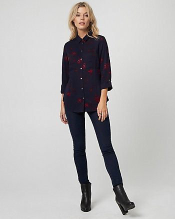 Floral Print Viscose Button-Front Blouse