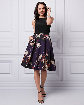 Abstract Print Taffeta Halter Dress