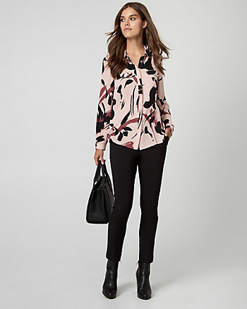 Floral Print Woven Button-Front Blouse