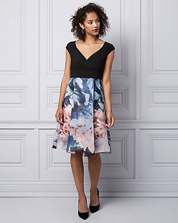 Floral Print Organza Cocktail Dress