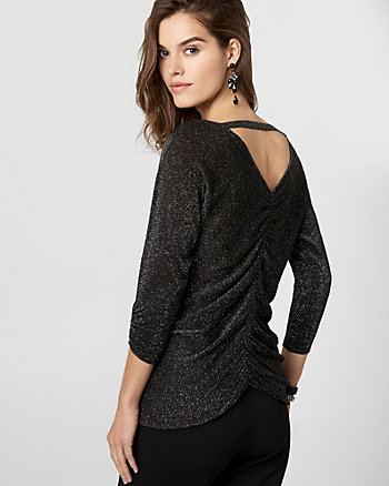 Metallic Knit Cutout Back Sweater