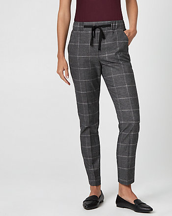 Glen Check Drawstring Track Pant