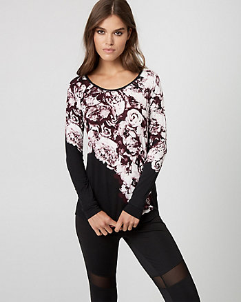 Floral Print Jersey Scoop Neck Pullover