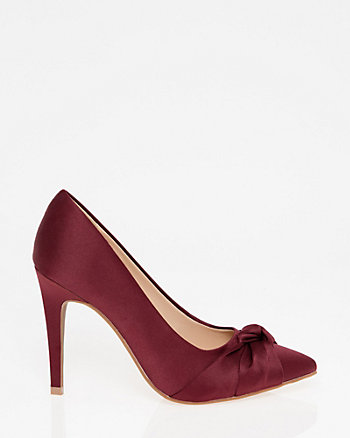 Satin Pointy Toe Knot Pump