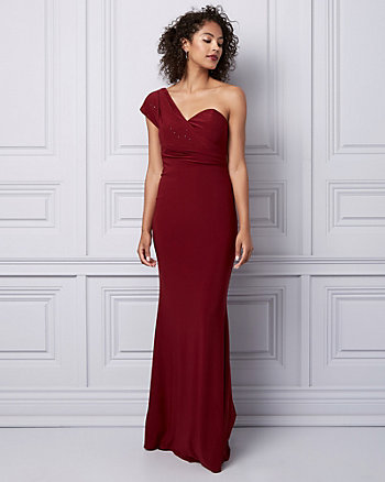 Embellished Knit One Shoulder Gown