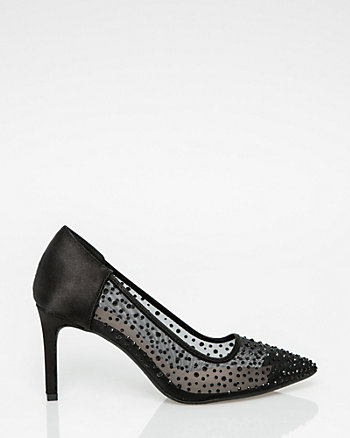 Embellished Mesh & Satin Pointy Toe Pump