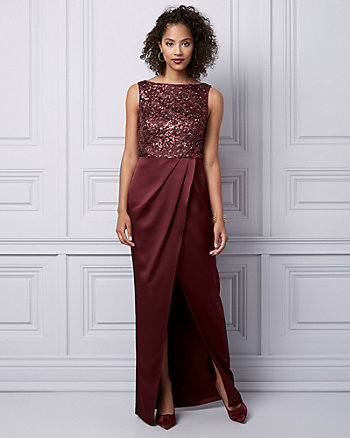 Sequin Lace & Satin Boat Neck Gown