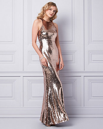 Sequin Crew Neck Gown