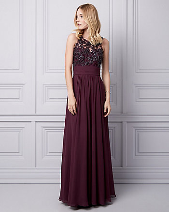 Sequin Lace & Chiffon Illusion Gown