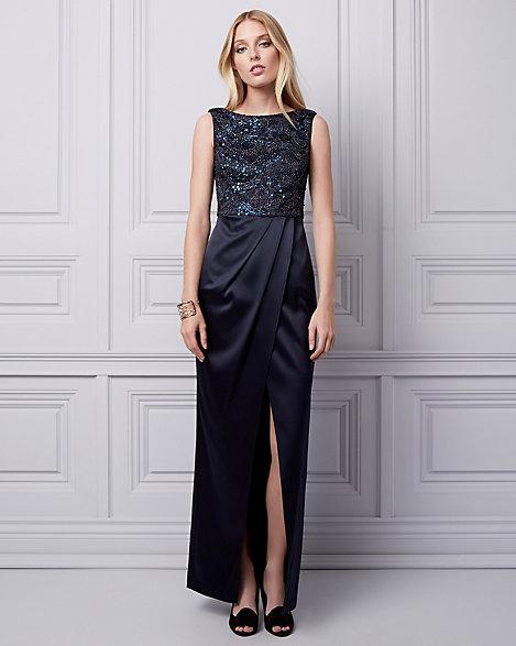 Sequin Lace & Satin Illusion Gown | LE CHÂTEAU